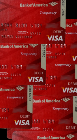 CHICAGO - images of just some of the actual bogus debit cards Mario illegally obtained and then used to quickly empty out Bank of America customer accounts Mario Elizondo Valenzuela fraudulently linked retiree's Bank of America accounts to them. 2016 All rights reserved IDTheftReport2020.com