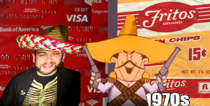 "CHICAGO - Meet Banco Bandito Mario Elizondo the Bank of America fraudster - ID thief - conman showing off to Frito The Bandito. Mario Elizondo;s 21st century ""digital guns"". are light years ahead of the well-known 1970's Frito The Bandito cartoon character who playfully brandished his six-shooters and stole everyone's hearts as well as their Frito's. In stark contrast 45 years later the heartless Banco Bandito of Bank of America deployed his 21st ""digital guns"" and quickly emptied out entire retirement accounts of the Bank of America seniors citizens he methodically targeted. In just a single August 2016 wire transfer transaction Banco Bandito fraudulently raided a seniors account and wired $15,000 to an accomplice. 2016 All rights reserved IDTheftReport2020.com"