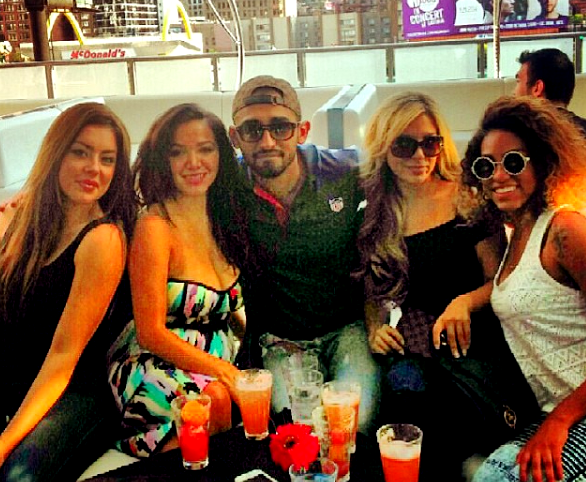 CHICAGO - Godfrey Hotel Jorge Cadenas, [CENTER with sunglasses] is a long-time patron and his associates have many friends [Valerie Trevino - Jen Noerr - Ashley Sumiec - Grant Gedemer] employed at Godfrey that include several within the Godfrey management team as well. This image was from his September 10 2014 visit to I|O Godfrey on top of the Godfrey Hotel. 2016 All rights reserved IDTheftReport2020.com