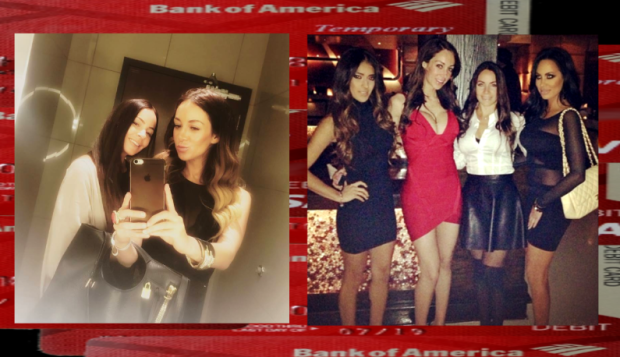 CHICAGO - [LEFT IMAGE] Maria Paspalas and Natasha Tagai gave the Godfey Hotel ladies room high marks to their friends. They were at the I|O Godfrey July 9 with Jorge Cadenas and Mario Elizondo the same night that once again BOGUS Bank of America red Temporary debits cards were used to pay thr tab. 2016 All rights reserved [RIGHT IMAGE] Monica Lopez #1 Natasha Tagai #2 Maria Paspalas #3 Jenn Noerr #4 out painting the town red. Monica Lopez who is friends of many of Jorge Cadenas associates worked at Cuvee nightclub - yet another establishment where Jorge and Mario used their BOGUS red Bank of America Temporary debit cards to pay for tabs. IDTheftReport2020.com