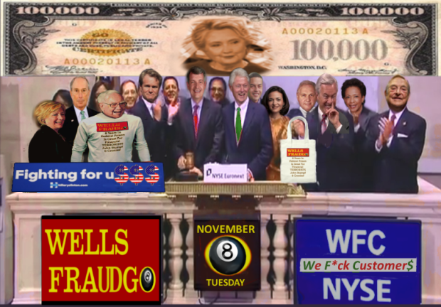 10/31/2016 Scary Times For TEAM CLINTON At the NYSE Just One Week Left BeFore thee Election. [LEFT to RIGHT] Michael Bloomberg - Hilllary Clinton - WELLS FARGO Largest Shareholder/Investor Warren Buffet * Bank of American Chief Financial Terrorist Brian Moynihan * WELLS FARGO Tim Sloan * Bill Clinton * Danny Williams, FACEBOOK's Sheryl Sandberg* WELLS FRAUDGO General Counsel ames Strother, * Ex WELLS FARGO Chief Financial Terrorist John Stumpf, George Soros. 2016 All Rights Reserved. IDTheftReport2020.com