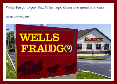 WELLS FARGO     Caught again with illegal and fraudulent activities. This time taking cars from American heroes serving in the US military! 2016 All rights reserved. IDTheftReport2020.com