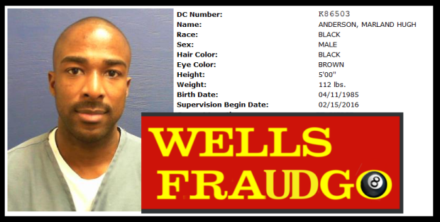 WELLS FARGO * Florida * WELLS FARGO Financial Terrorist Marlan Anderson created bogus debit cards from senior citizens stolen identities and then emptied out their WELLS FARGO accounts. Marland Anderson went to jail for 2 1/2 years. John Stumpf and his WELLS FARGO financial terrorist associates need to go to federal prison for at least EIGHT GREAT years. 2016 All rights reserved. IDTheftReport2020.com